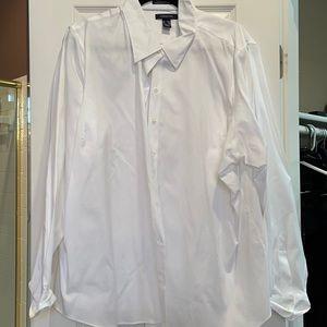 26w lands end white button down shirt